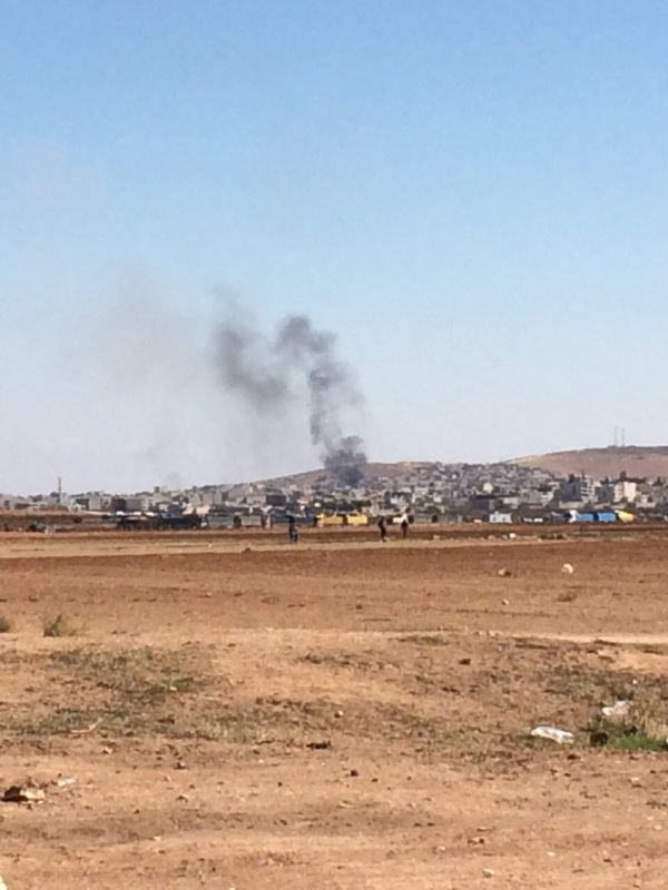 Plumes of Smoke Rising from Kobani, under Attack from ISIS