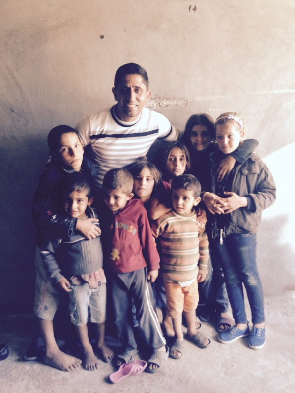 Nihad with a Group of Refugee Kids